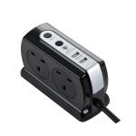Masterplug SRGDSU42PB Surge Compact 2 USB X3.1A with 4 x13A 2M extension lead High gloss Black