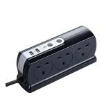 Masterplug SRGDSU62PB Surge Compact 2 USB X3.1A with 6 x13A 2M extension lead High gloss Black