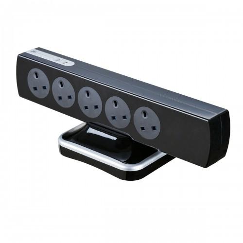 Masterplug Surge Tower 2 USB X 3.1A with 10 X13A 3m Extension lead Black SRGTOWSU103PB