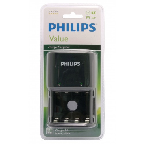 Philips SCB1411NB/30 Value NiMH Battery Charger - Black (for both AA and AAA rechargeable batteries)  3PIN UK PLUG
