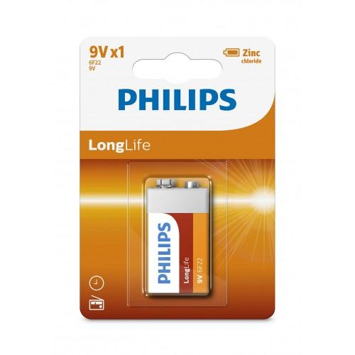 Philips 6F22L1B/97 LongLife Zinc Carbon Batteries 9V 1 pcs/pack