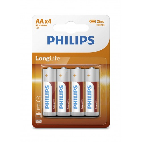 Philips R6L4B/97 LongLife Zinc Carbon Batteries AA 4 pcs/pack