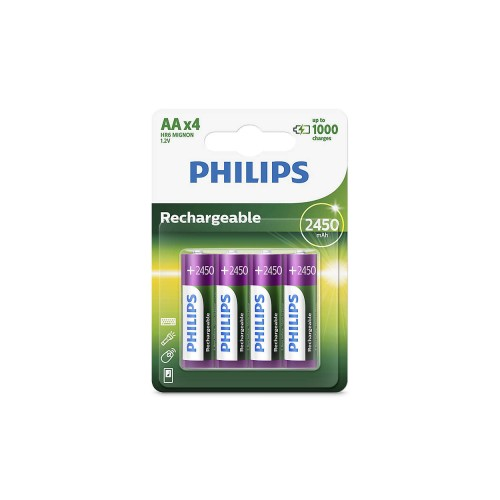 Philips R6B4A245/97 Rechargeables Rechargeable Batteries 2450 mAh  AA 4pc/pack