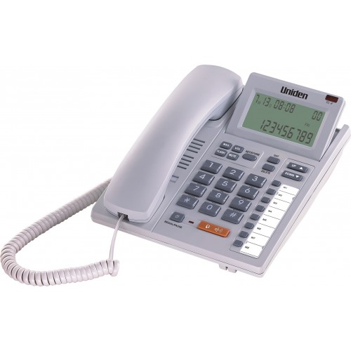 Uniden AS7411 LCD Tilt Adjustable Corded Phone with CID Speaker White